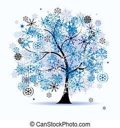 Winter tree, snowflakes. Christmas holiday.