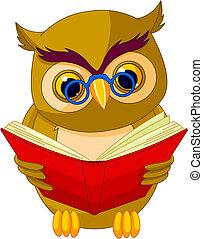 Fully editable vector illustration of a cartoon wise owl.