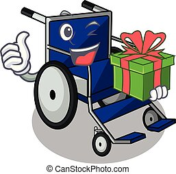 With gift cartoon wheelchair in a hospital room