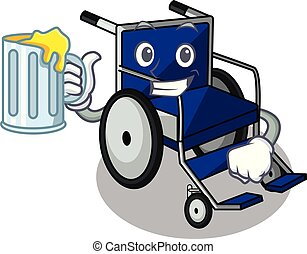 With juice cartoon wheelchair in a hospital room