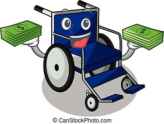 With money bag cartoon wheelchair in a hospital room