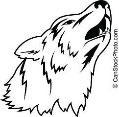 Vector illustration of wolf tattoo