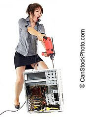 woman computer rage