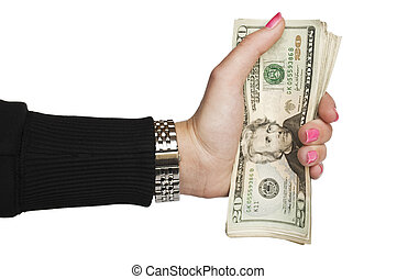 Woman hand holding money