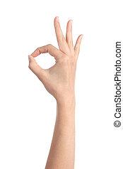 Woman hand making ok gesture