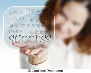 woman hand shows a success flow chart in glass bubbles