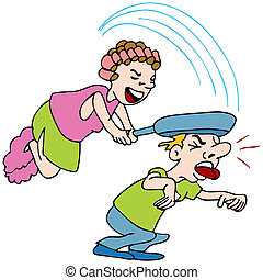 An image of a woman hitting a man with a frying pan.