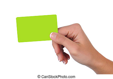 Closeup of a woman's hand holding a blank green gift card. Horizontal format over a white background.