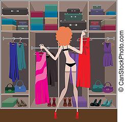 Woman in a wardrobe room.