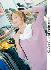 woman in clothes shop