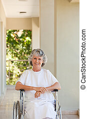 Woman in her wheelchair