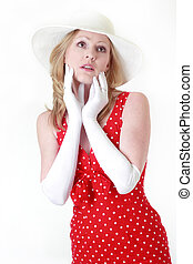woman in red dress and white gloves
