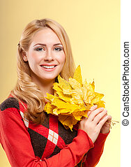 Woman in red sweater isolated