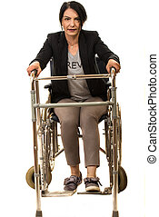 Woman in wheelchair with walking frame try to get up