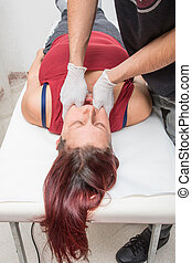 woman is doing a physiotherapy session