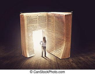 Woman looking at doorway in large book