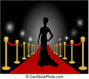 Vector illustration of a woman posing and having her photo taken at a red carpet event.