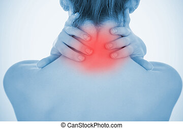 Woman rubbing highlighted neck pain
