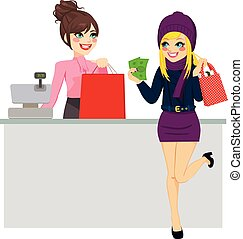 Young beautiful blonde woman paying purchase with cash while store clerk is preparing shopping bag