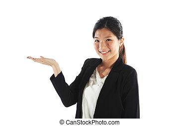 Woman Showing Copy Space with Open Hand