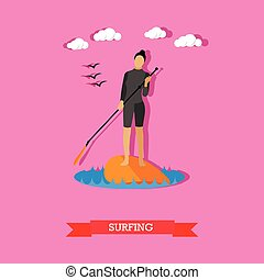 Woman swim on stand up paddle board, flat design