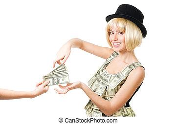 Woman take money