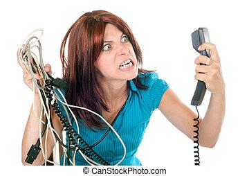 woman upset against technology