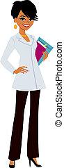 Woman wearing doctor's white coat