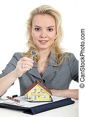 woman with keys from the house