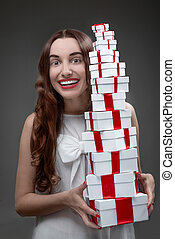 Woman with present boxes