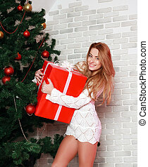 Woman with red gift