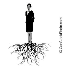 Woman with Roots. Vector Illustration.