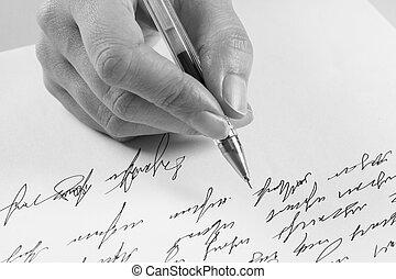 woman writes a handwritten letter