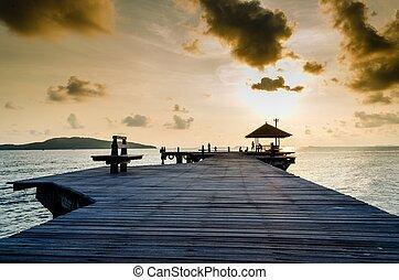 Wood jetty on the Beach