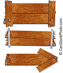 Illustration of Blank Wooden signs, boards, pointers