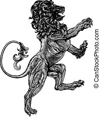 An original illustration of a heraldic rampant lion in a vintage woodblock style