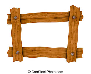 one frame made with four wooden boards (3d render)