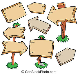 Wooden boards collection - vector illustration.