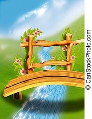 Wooden footbridge - Highly detailed cartoon background 64 - illustration