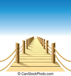 Vector illustration of a wooden jetty