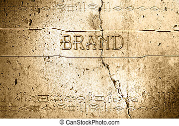 word brand on wall with egyptian alphabet made in 2d software