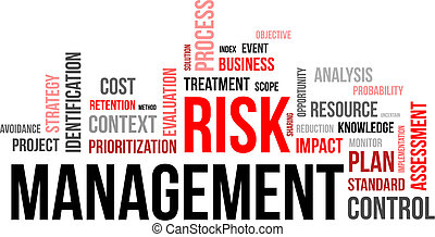 A word cloud of risk management related items