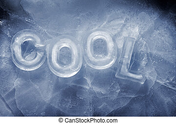 """Word """"Cool"""" written with real ice letters."""