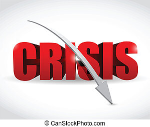word crisis and a falling arrow illustration