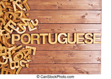 Word portuguese made with wooden letters