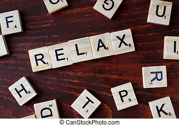 Word relax from wooden blocks