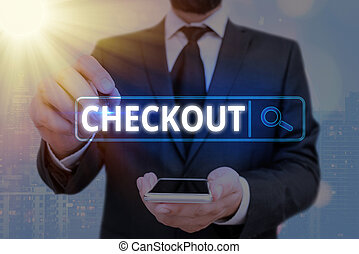 Word writing text Checkout. Business concept for the act of examining and testing something for performance Web search digital information futuristic technology network connection.