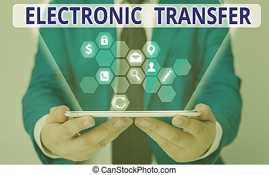 Word writing text Electronic Transfer. Business concept for transaction that takes place over a computerized network.
