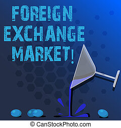 Word writing text Foreign Exchange Market. Business concept for global decentralized trading of currencies Cocktail Wine Glass Pouring Liquid with Splash Grapes and Shadow photo.