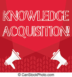 Word writing text Knowledge Acquisition. Business concept for process of extracting knowledge from one source Blank Double Spotlight Crisscrossing Upward from Two Megaphones on the Floor.